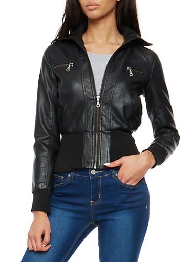 Faux Leather Zip Up Bomber Jacket,BLACK,large