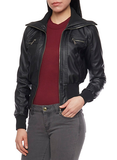 Faux Leather Zip Up Moto Jacket with Knit Collar and Cuffs,BLACK,large