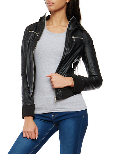 Faux Leather Hooded Sherpa Lined Jacket,BLACK,large