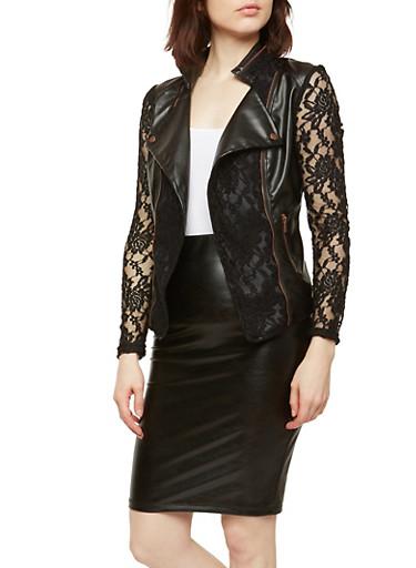 Faux Leather Lace Blazer,BLACK,large