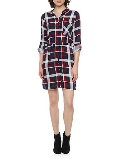 Plaid Shirt Dress with Belt,NAVY,large