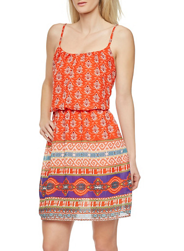 Empire Waist Dress with Spaghetti Straps and Tribal Print,ORANGE,large