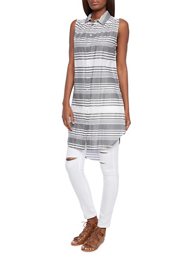 Striped Tunic Top with Button Down Front and High Low Hem,GRAY,large