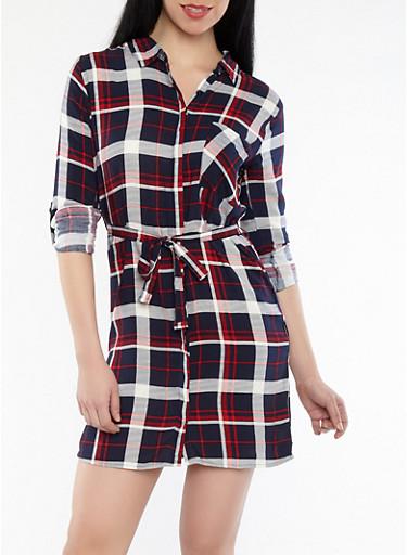 Button Front Plaid Dress,NAVY,large