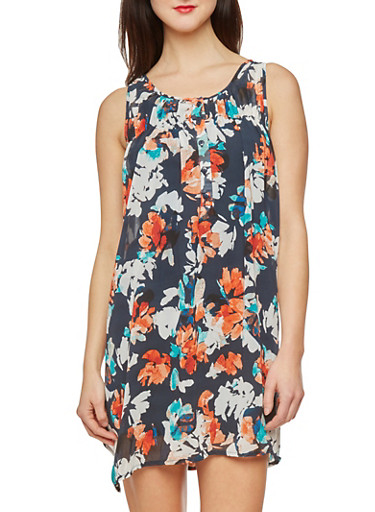 Sleeveless Mini Dress in Floral Print,NAVY,large