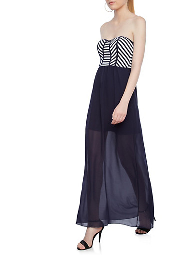 Tube Top Striped Color Block Maxi Dress,NAVY,large