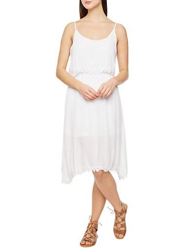 Crochet Accented Dress with Bodice Overlay,WHITE,large