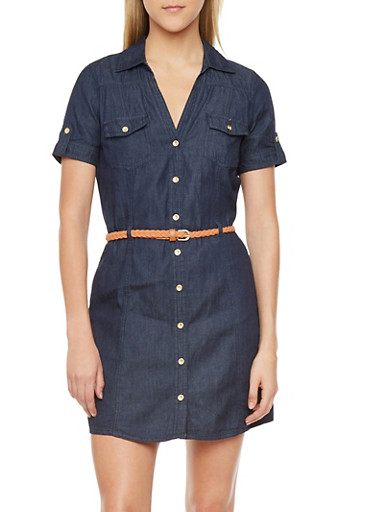 Denim Button Front Dress with Woven Belt
