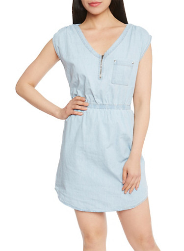 Sleeveless Denim Mini Dress with Zipper Neck,LIGHT WASH,large