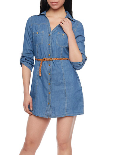 Tabbed Sleeeve Chambray Shirt Dress with Braided Belt,LIGHT WASH,large