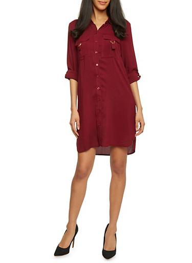 Short Length Tabbed Sleeve Shirt Dress,BURGUNDY,large