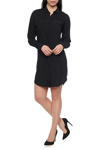 Solid High Low Shirt Dress,BLACK,large