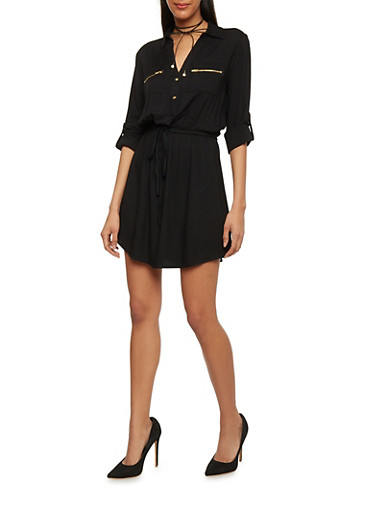 Cinched Waist Shirt Dress with Tabbed Sleeves,BLACK,large
