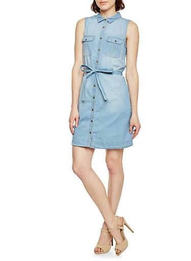 Sleeveless Chambray Shirt Dress,LIGHT WASH,large