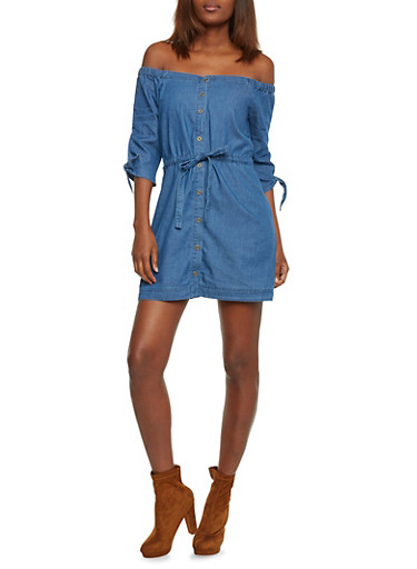 Off The Shoulder Button Front Chambray Dress with Drawstring,MEDIUM WASH,large