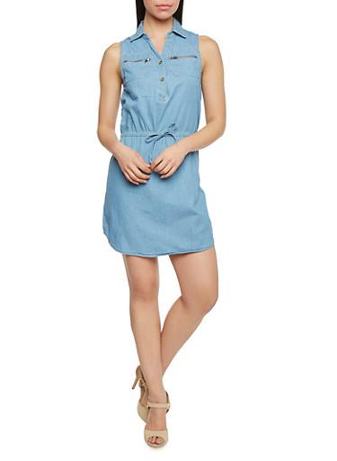 Sleeveless Denim Shirt Dress With Zipper Pockets,MEDIUM WASH,large