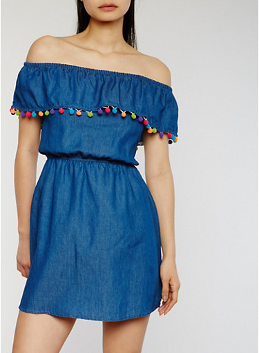 Off the Shoulder Denim Dress with Pom Pom Trim,MEDIUM WASH,large
