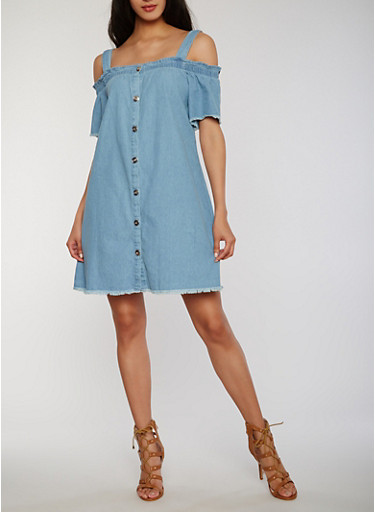 Cold Shoulder Button Front Denim Dress with Frayed Trim,DENIM,large
