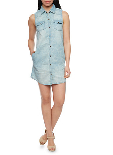 Sleeveless Cloud Wash Button Down Denim Shirt Dress,MEDIUM WASH,large