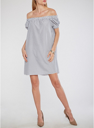 Off the Shoulder Striped Peasant Dress,NAVY-WHT,large