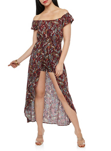 Paisley Print Off the Shoulder Romper with Maxi Skirt Overlay,EGGPLANT,large