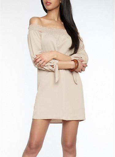 Smocked Off the Shoulder Dress,KHAKI,large