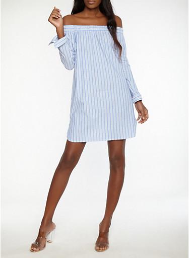 Striped Off the Shoulder Shift Dress,BLUE/WHT/GOLD,large