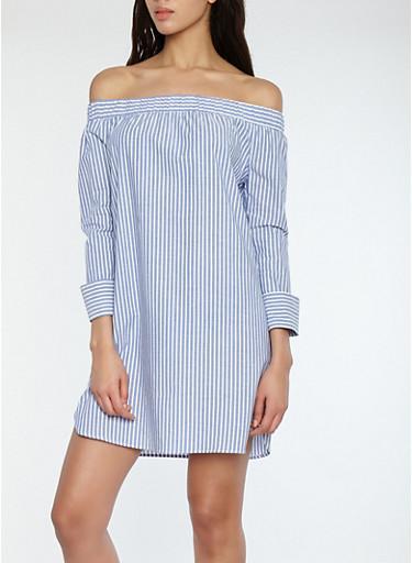 Striped Off the Shoulder Dress,FRENCH BLUE,large
