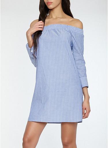 Striped Off the Shoulder Shift Dress,FRENCH BLUE,large