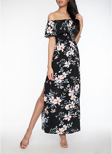Floral Off the Shoulder Maxi Dress,BLACK,large