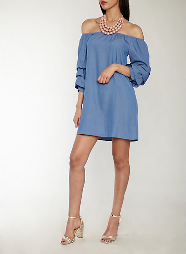 Tiered Sleeve Off the Shoulder Chambray Dress,BLUE,large