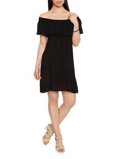 Off The Shoulder Crinkle Knit Shift Dress,BLACK,large