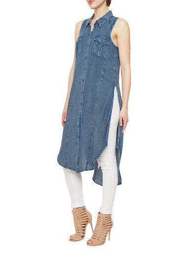 Denim Longline Top With Button Down Front,MEDIUM WASH,large