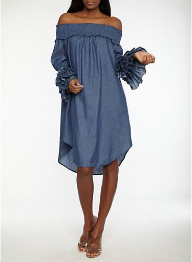 Tiered Sleeve Off the Shoulder Denim Dress,MEDIUM WASH,large