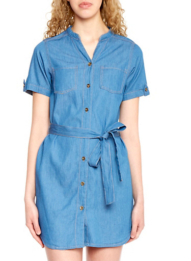 Belted Denim Shirt Dress with Button Front,MEDIUM WASH,large