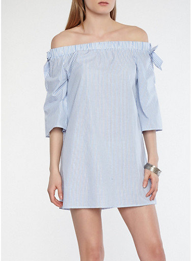 Striped Slit Sleeve Off the Shoulder Shift Dress,BLUE,large