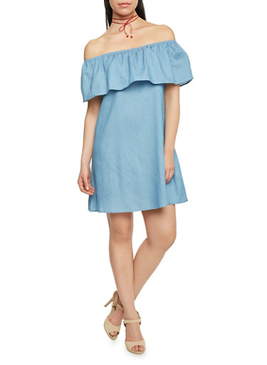 Chambray Ruffle Overlay Off The Shoulder Shift Dress,BLUE,large