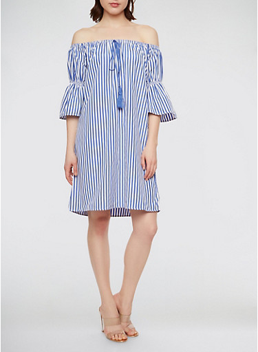Striped Off the Shoulder Bell Sleeve Dress,BLUE/WHITE,large