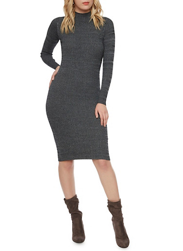 Marled Knit Midi Dress with Mock Neck,CHARCOAL,large