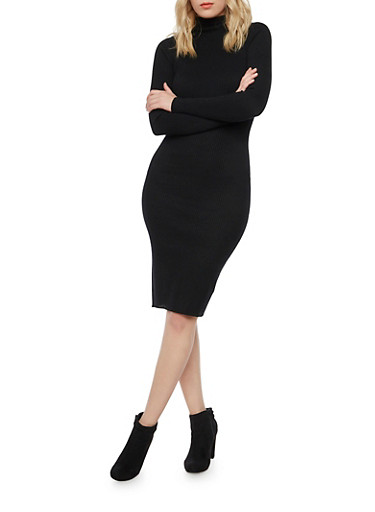 Ribbed Mock Neck Midi Dress with Long Sleeves,BLACK,large