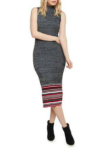 Marled Mock Neck Midi Dress with Striped Hem,BLACK/WHITE,large