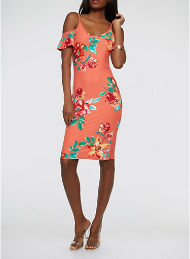 Floral Cold Shoulder Dress,CORAL,large