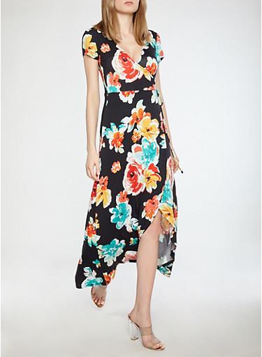 Floral Faux Wrap Maxi Dress,BLACK BEAUTY,large
