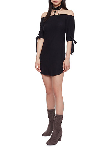 Off The Shoulder T Shirt Dress with Tie Sleeve,BLACK,large