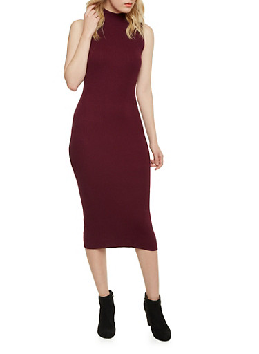 Sleeveless Mockneck Midi Dress,WINE,large