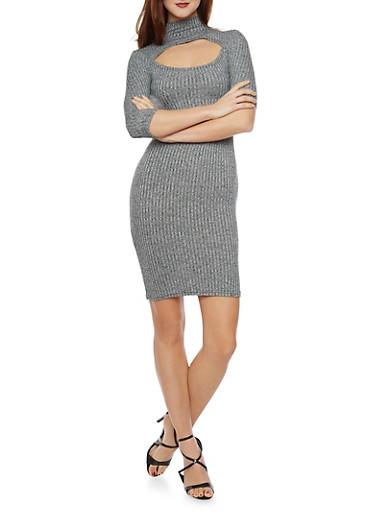 Cutout Ribbed Dress,GRAY,large