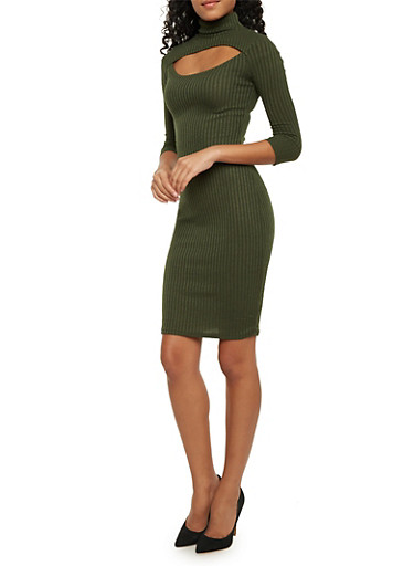 Ribbed Dress with Cutout,OLIVE,large