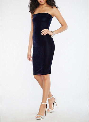 Velvet Tube Dress,NAVY,large