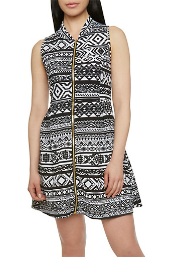 Printed Dress with Zip Front,BLACK/WHITE,large