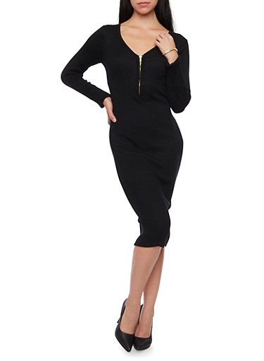 Long Sleeve Rib Knit Midi Dress with Zippered Neckline,BLACK,large